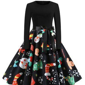 SHEIN Plus Christmas Print Belted Ball Gown Dress